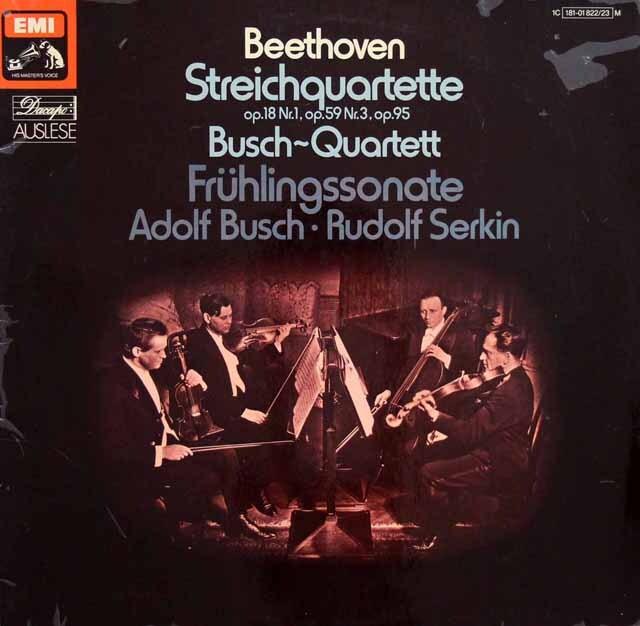ブッシュ四重奏団のベートーヴェン/弦楽四重奏曲第1、9、11番ほか 独EMI 3321 LP レコード