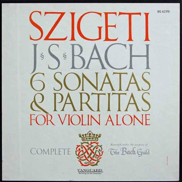 シゲティのバッハ/無伴奏ヴァイオリンのためのソナタとパルティータ(全曲) 米VANGUARD 3321 LP レコード