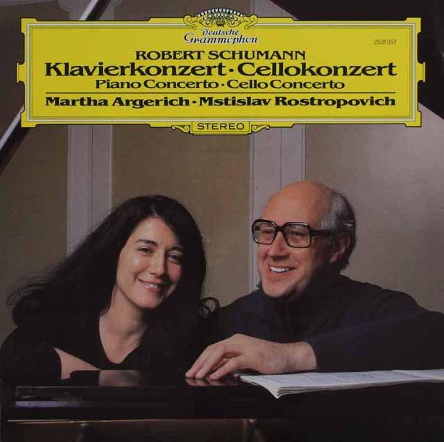 アルゲリッチ、ロストロポーヴィチのシューマン/ピアノ協奏曲、チェロ協奏曲 独DGG 3321 LP レコード