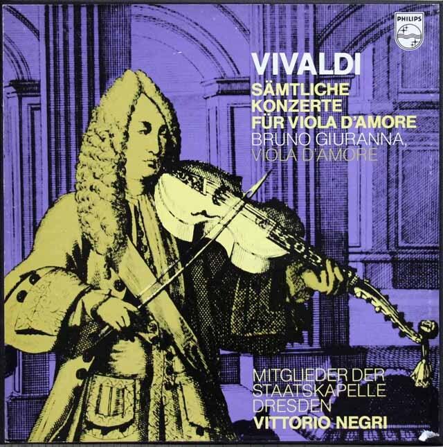ジュランナ、ネグリのヴィヴァルディ/ヴィオラ・ダモーレ協奏曲全集 蘭PHILIPS 3321 LP レコード
