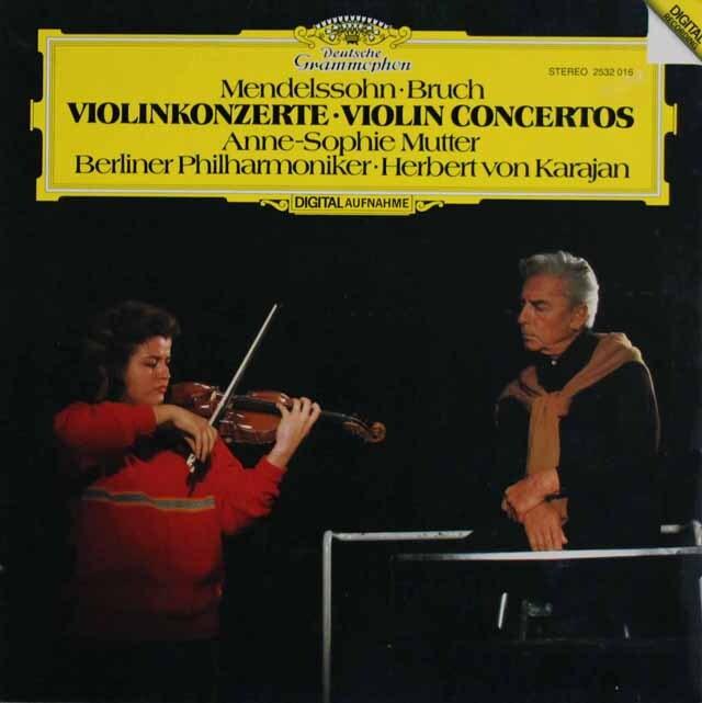 ムター、カラヤンのメンデルスゾーン、ブルッフ/ヴァイオリン協奏曲 独DGG 3322 LP レコード
