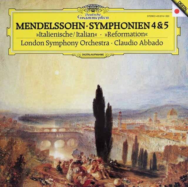 アバドのメンデルスゾーン/交響曲「イタリア」、「宗教改革」 独DGG 3322 LP レコード
