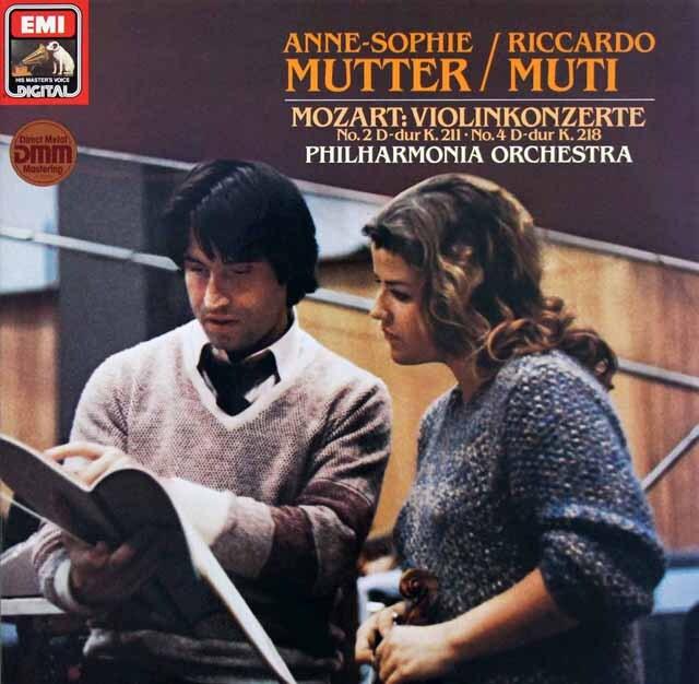 ムター&ムーティのモーツァルト/ヴァイオリン協奏曲第2、4番 独EMI 3322 LP レコード