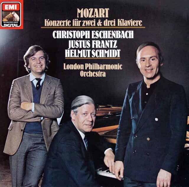 エッシェンバッハ、フランツ、シュミットのモーツァルト/2台、3台のためのピアノ協奏曲 独EMI 3322 LP レコード