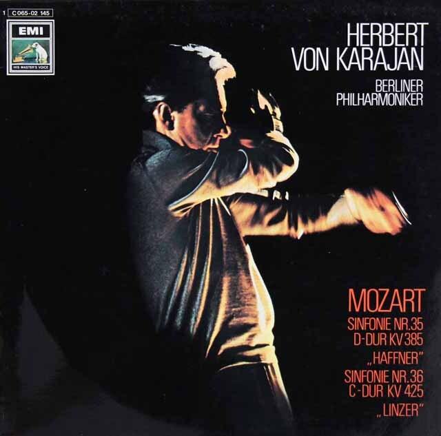 カラヤンのモーツァルト/交響曲第35番「ハフナー」、第36番「リンツ」 独EMI 3322 LP レコード