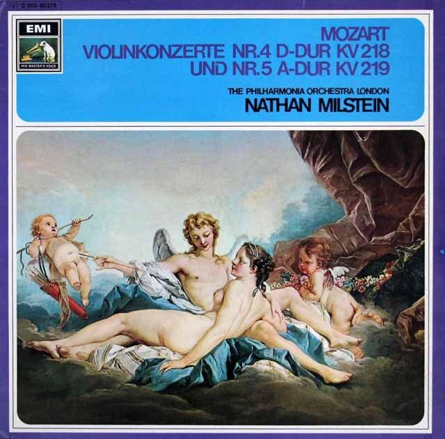 ミルシュタイン、ラインスドルフのモーツァルト/ヴァイオリン協奏曲第4、5番 独EMI 3322 LP レコード