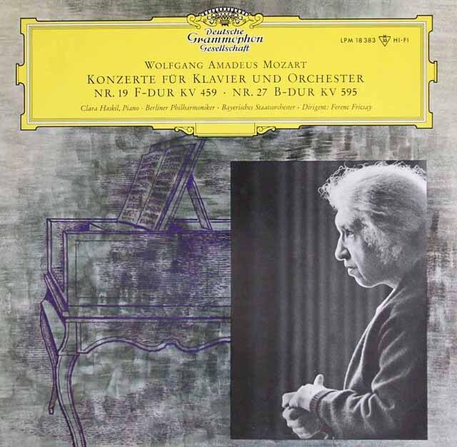 ハスキル&フリッチャイのモーツァルト/ピアノ協奏曲第19&27番 独DGG 3323 LP レコード