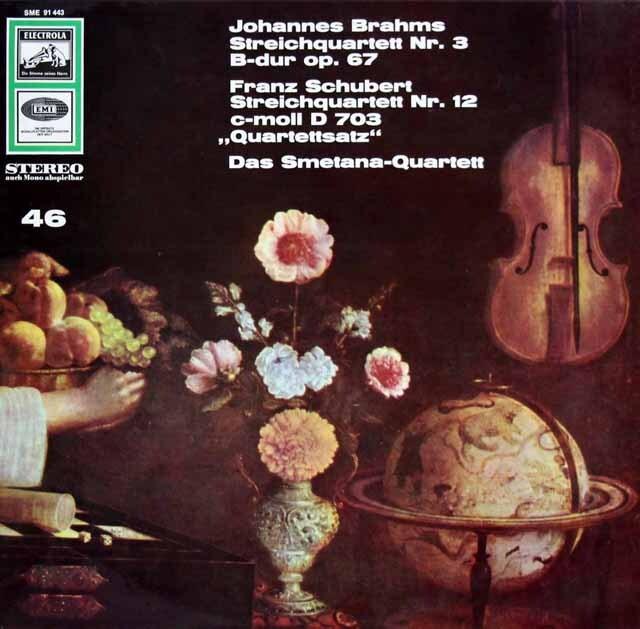 スメタナ四重奏団のブラームス&シューベルト/弦楽四重奏曲集 独EMI 3323 LP レコード