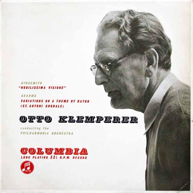 【オリジナル盤】 クレンペラーのヒンデミット/組曲「気高い幻想」ほか 英Columbia 3324 LP レコード