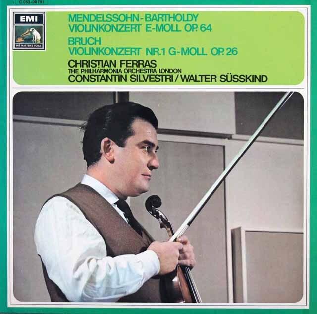 フェラス&ジュスキントのメンデルスゾーン&ブルッフ/ヴァイオリン協奏曲集 独EMI 3324 LP レコード