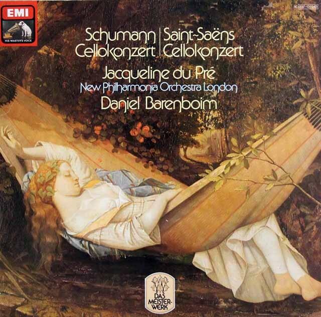 デュ・プレ&バレンボイムのシューマン&サン=サーンス/チェロ協奏曲集 独EMI 3324 LP レコード