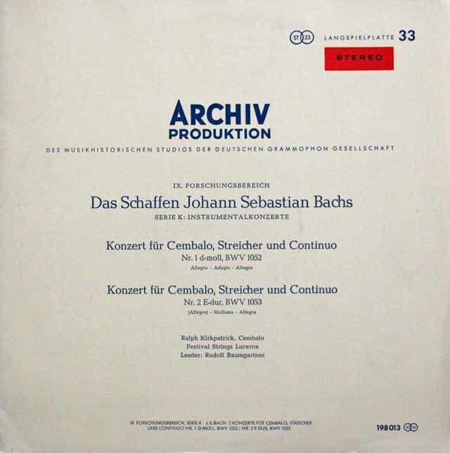 【赤ステレオ】 カークパトリック&バウムガルトナーのバッハ/チェンバロ協奏曲第1&2番 独ARCHIV 3324 LP レコード