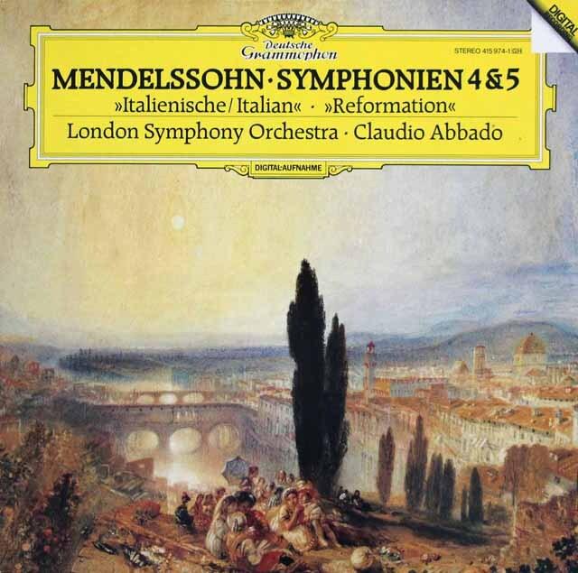 アバドのメンデルスゾーン/交響曲「イタリア」、「宗教改革」 独DGG 3324 LP レコード