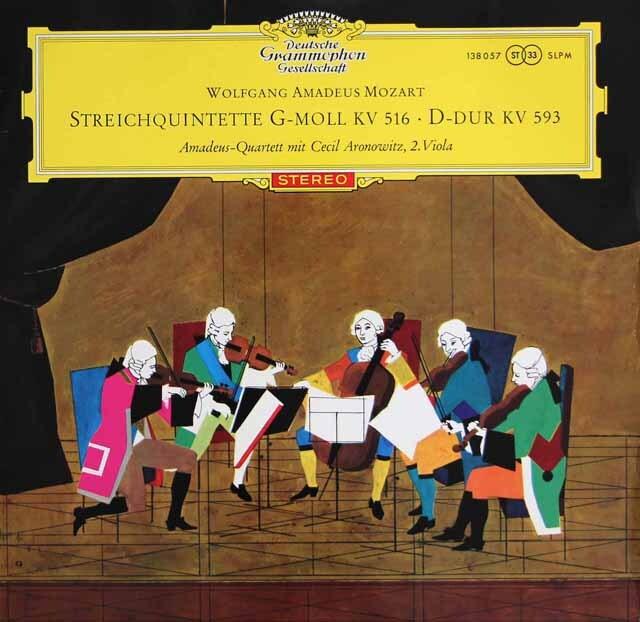 【赤ステレオ・オリジナル盤】 アマデウス四重奏団&アロノヴィッツのモーツァルト/弦楽五重奏曲第4&5番 独DGG 3325 LP レコード