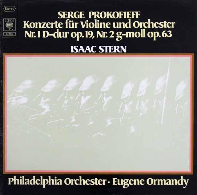 スターン&オーマンディのプロコフィエフ/ヴァイオリン協奏曲第1&2番 独CBS 3325 LP レコード