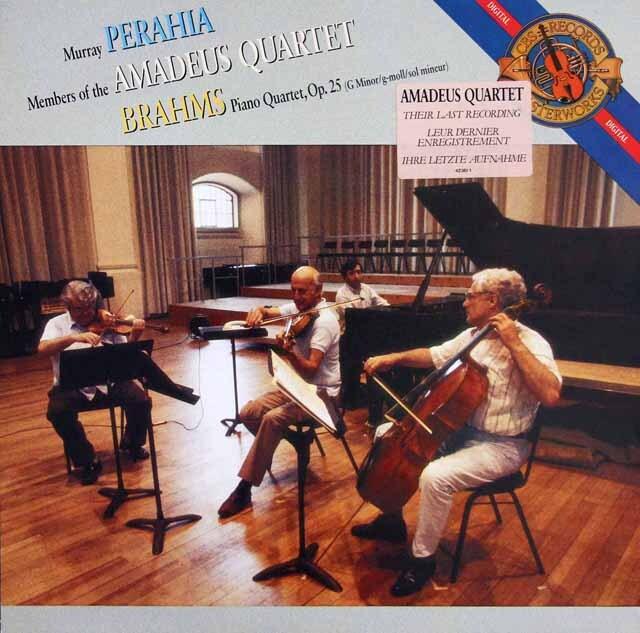 ペライア&アマデウス四重奏団のブラームス/ピアノ四重奏曲第1番 蘭CBS 3325 LP レコード