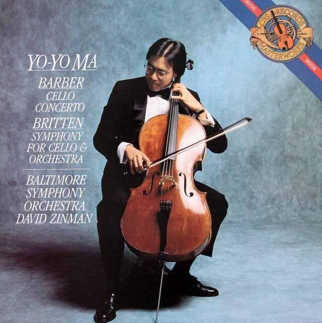 ヨーヨー・マ&ジンマンのバーバー&ブリテン/チェロ協奏曲集 蘭CBS 3325 LP レコード