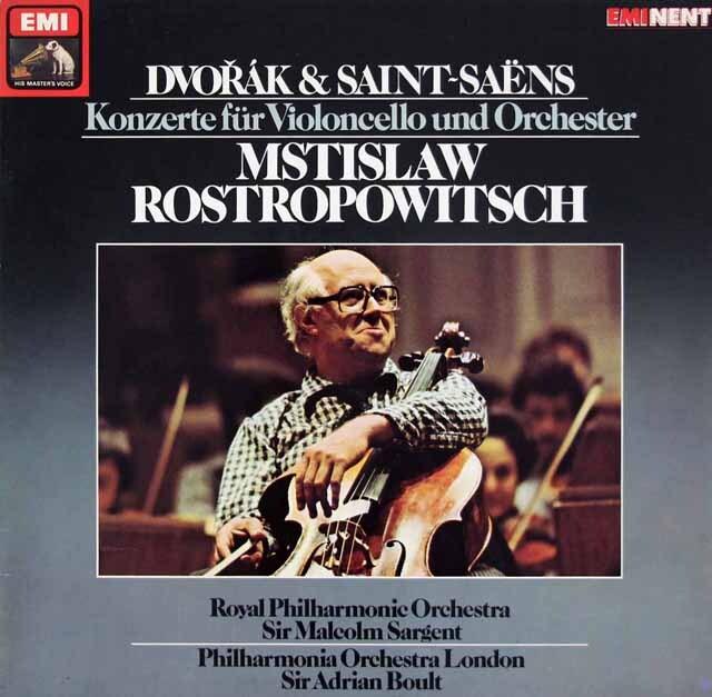 ロストロポーヴィチのドヴォルザーク、サン=サーンス/チェロ協奏曲集 独EMI 3326 LP レコード
