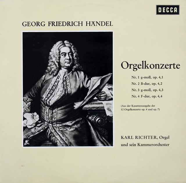 リヒターのヘンデル/オルガン協奏曲第1~12番(作品4、7) 独DECCA 3326 LP レコード