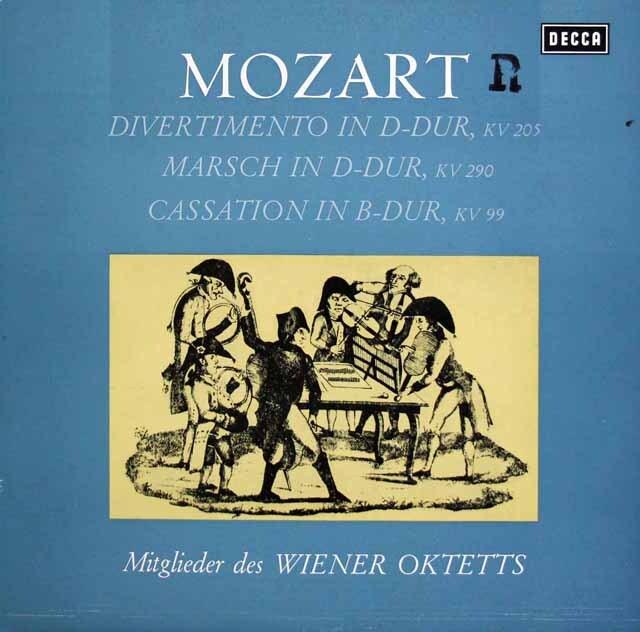 ウィーン八重奏団のモーツァルト/ディヴェルティメント 第7番ほか 独DECCA 3327 LP レコード