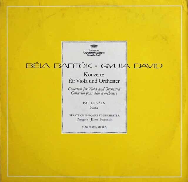 【独最初期盤】 ルカーチ&フェレンチクのバルトーク&ダーヴィド/ヴィオラ協奏曲集 独DGG 3327 LP レコード