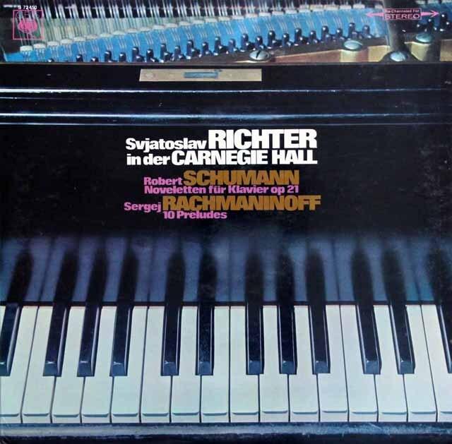 リヒテルのカーネギーホール・ライヴ(3) シューマン/ノヴェレッテ & ラフマニノフ/前奏曲 独CBS 3327 LP レコード