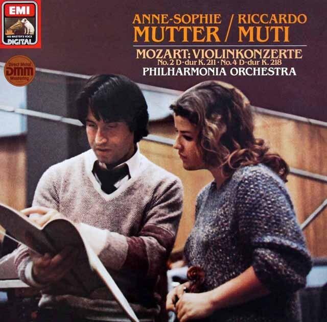 ムター&ムーティのモーツァルト/ヴァイオリン協奏曲第2、4番 独EMI 3327 LP レコード