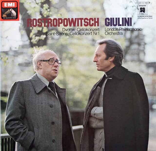 ロストロポーヴィチ、ジュリーニのドヴォルザーク/チェロ協奏曲ほか 独EMI 3328 LP レコード