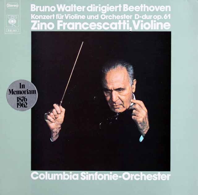 フランチェスカッティ、ワルターのベートーヴェン/ヴァイオリン協奏曲 独CBS 3328 LP レコード