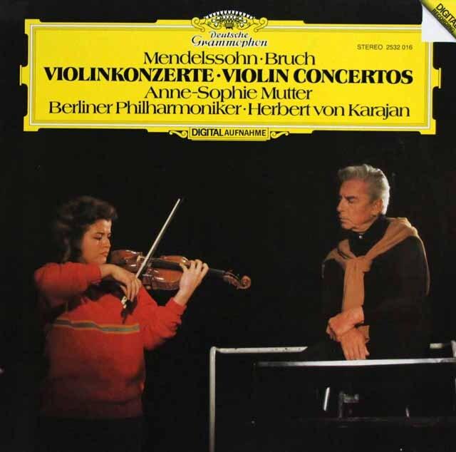 ムター、カラヤンのメンデルスゾーン、ブルッフ/ヴァイオリン協奏曲 独DGG 3328 LP レコード