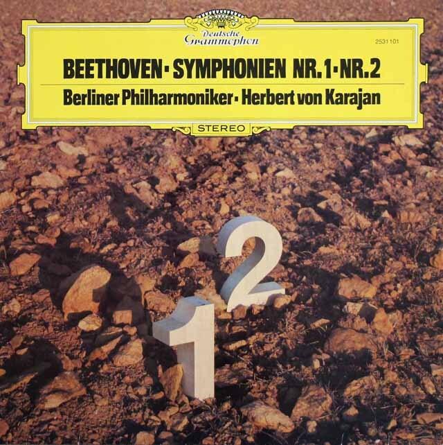 カラヤンのベートーヴェン/交響曲第1、2番 独DGG 3328 LP レコード