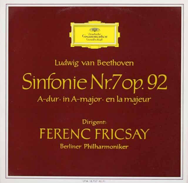 【モノラル】 フリッチャイのベートーヴェン/交響曲第7番 独DGG 3328 LP レコード