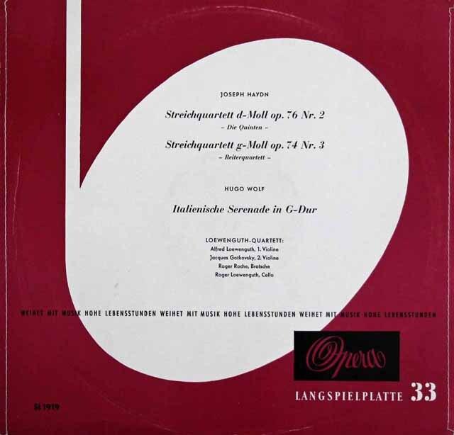 レーヴェングート弦楽四重奏団のハイドン/弦楽四重奏曲「五度」、「騎手」ほか 独Opera 3328 LP レコード