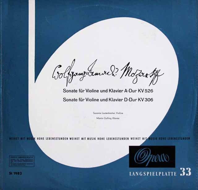 ラウテンバッハー、ガリンクのモーツァルト/ヴァイオリンソナタ第30(23)、42番 独Opera 3328 LP レコード