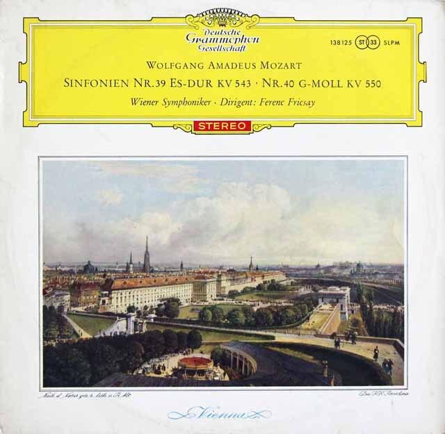 【赤ステレオ・オリジナル盤】 フリッチャイのモーツァルト/交響曲第39 & 40番 独DGG 3331 LP レコード