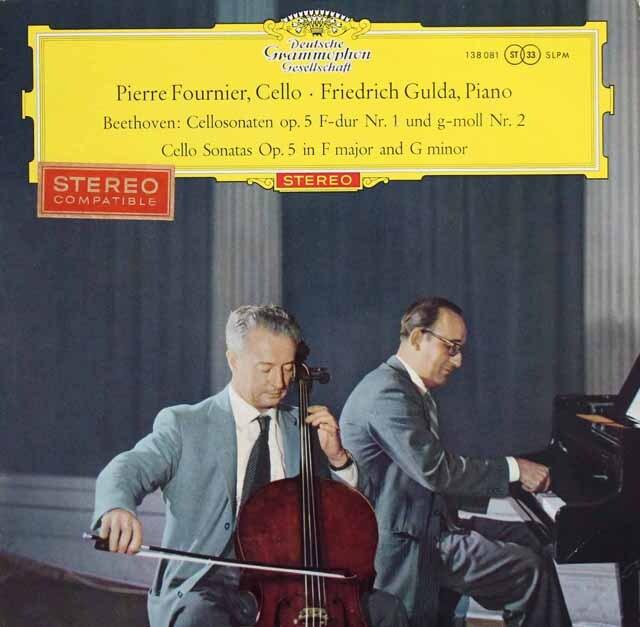 【赤ステレオ/独最初期盤】 フルニエ、グルダのベートーヴェン/チェロソナタ全曲 独DGG 3332 LP レコード