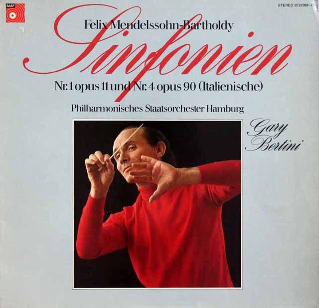 ベルティーニのメンデルスゾーン/交響曲第1、4番「イタリア」 独BASF 3332 LP レコード