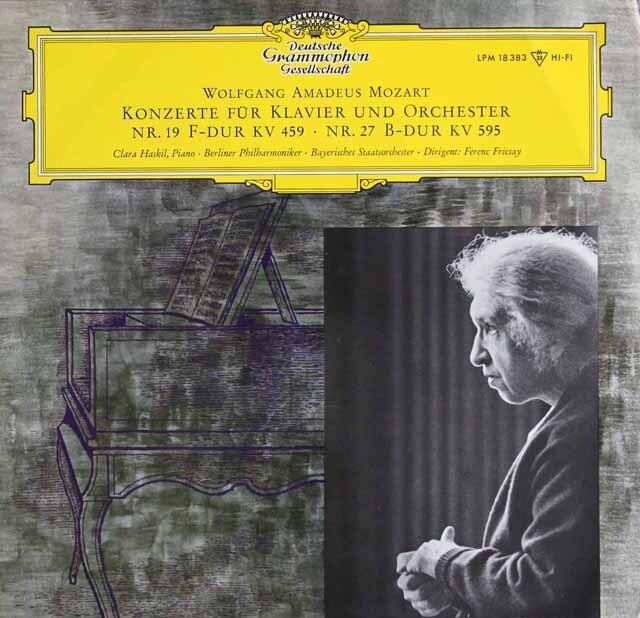 ハスキル、フリッチャイのモーツァルト/ピアノ協奏曲第19、27番 独DGG 3333 LP レコード