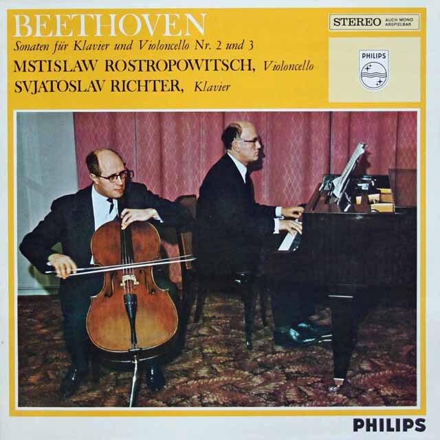 ロストロポーヴィチ、リヒテルのベートーヴェン/チェロソナタ第2番、3番 蘭PHILIPS 3334 LP レコード