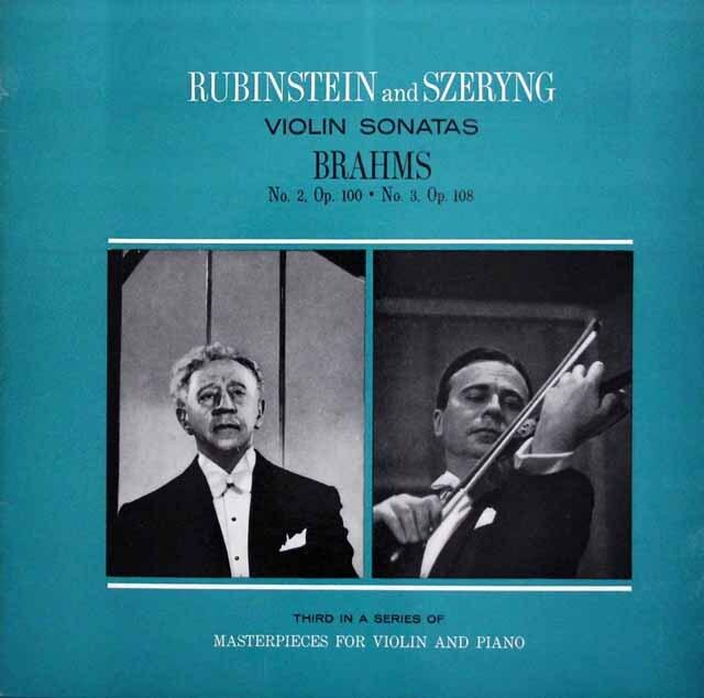 シェリング、ルービンシュタインのブラームス/ヴァイオリンソナタ第2、3番 独RCA 3334 LP レコード