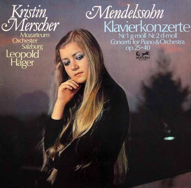 メルシャー、ハーガーのメンデルスゾーン/ピアノ協奏曲第1、2番 独eurodisc 3334 LP レコード