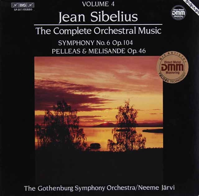 ヤルヴィのシベリウス/交響曲第6番ほか 独BIS 2829 LP レコード