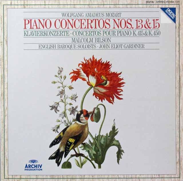 ビルソン&ガーディナーのモーツァルト/ピアノ協奏曲第13&15番 独ARCHIV 3298 LP レコード