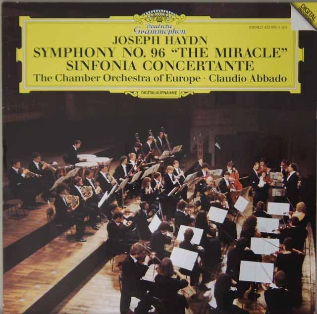 アバドのハイドン/交響曲第96番《奇跡》、協奏交響曲 独DGG 3227 LP レコード