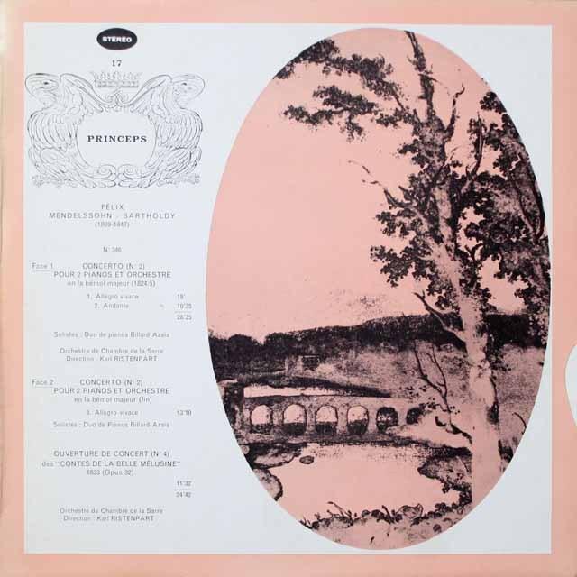 リステンパルトのメンデルスゾーン/2台のピアノのための協奏曲ほか 仏CF 2614 LP レコード