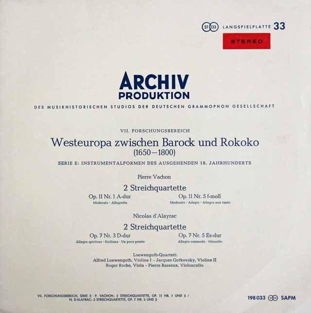 レーヴェングート四重奏団のヴァション&ダレイラク/弦楽四重奏曲集 独ARCHIV 3285