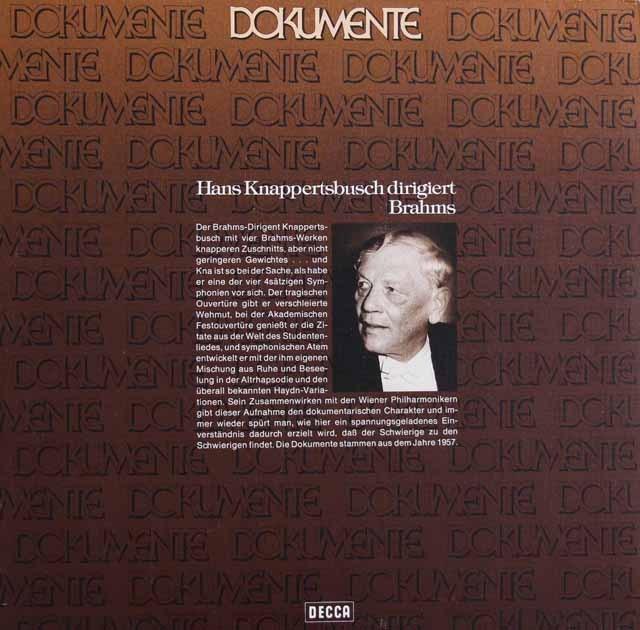 クナッパーツブッシュのブラームス/大学祝典序曲ほか管弦楽曲集 独DECCA 3399 LP レコード