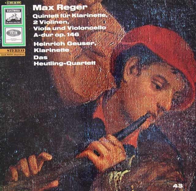 ゴイザー&ホイトリング四重奏団のレーガー/クラリネット五重奏曲 独EMI 3034 LP レコード