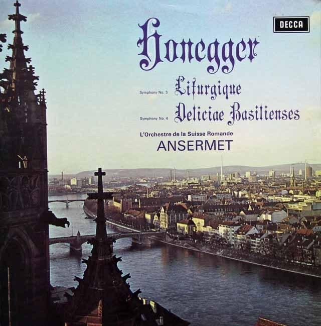 アンセルメのオネゲル/交響曲第3番「典礼風」&第4番「バーゼルの喜び」 英DECCA 3005 LP レコード
