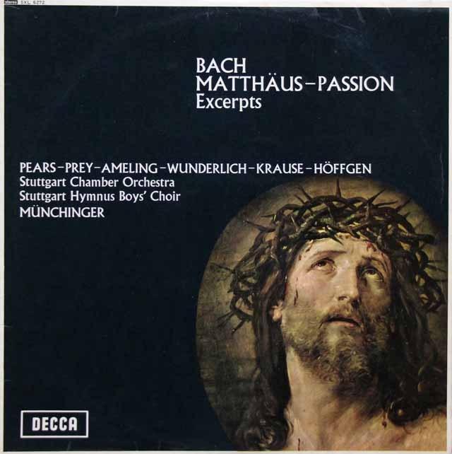 ミュンヒンガーのバッハ/「マタイ受難曲」抜粋 英DECCA 3005 LP レコード